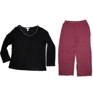 PAJAMAS SET CHARTER CLUB RED PLAID CHRISTMAS L
